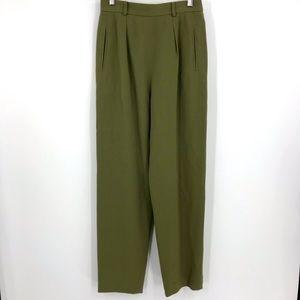 Carlisle Green High Rise Wool Trousers Size 8